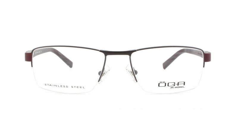 MOREL-Eyeglasses-10005 brown-men-eyeglasses-metal-rectangle
