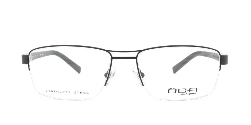 MOREL-Eyeglasses-10011 black-men-eyeglasses-metal-rectangle