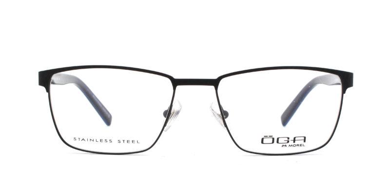 MOREL-Eyeglasses-10038 black-men-eyeglasses-metal-rectangle
