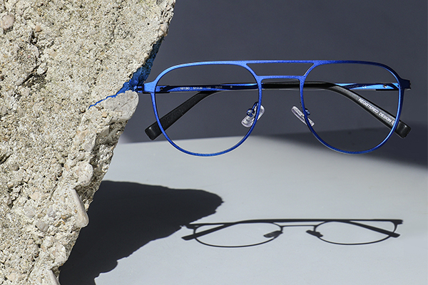 Blue eyeglasses from Oga collection, by Morel